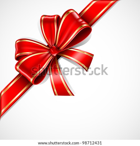 Red and gold vector gift bow and ribbon - stock vector