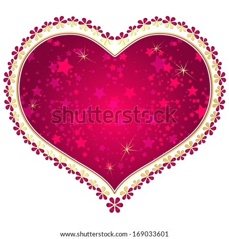 Red and gold vintage valentine frame with big purple heart and stars isolated on white (vector eps 10) - stock vector