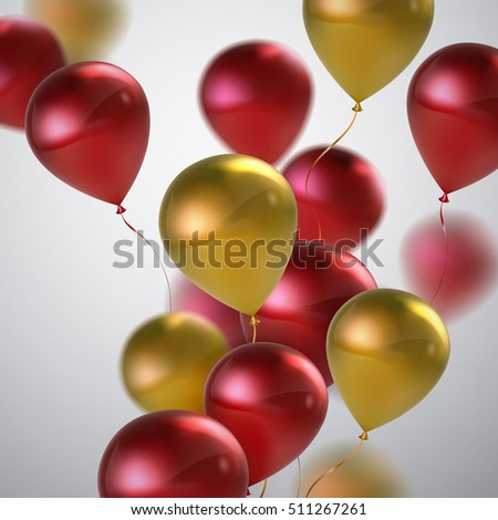Red And Golden Balloon Bunch. Vector Holiday Illustration Of Flying Red And Golden Balloons. Birthday Or Other Holiday Event Decoration Element