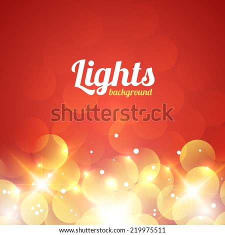 Red and Golden Bokeh Abstract Light Background. Vector Illustration - stock vector