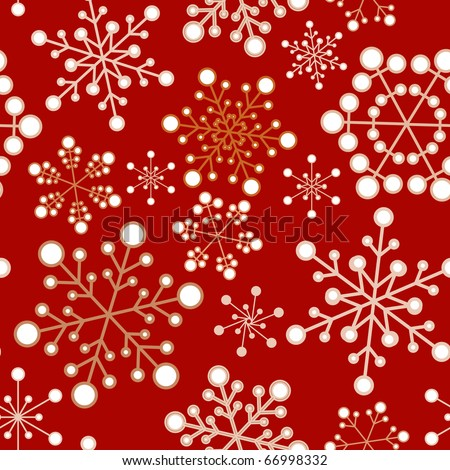 Red and golden christmas seamless pattern / texture with snowflakes - stock vector