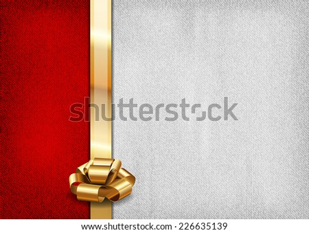 Red and gray background with golden ribbon. Vector textures. - stock vector