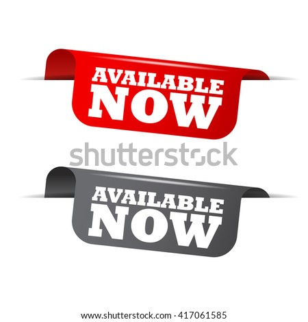 Red and gray vector illustration isolated sticker banner available now two versions. This element is well adapted to web design. - stock vector