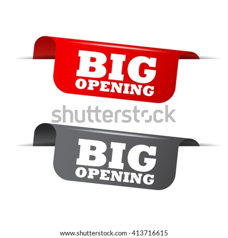 Red and gray vector illustration isolated sticker banner big opening two versions. This element is well adapted to web design. - stock vector