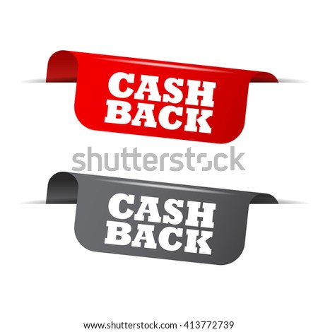 Red and gray vector illustration isolated sticker banner cash back two versions. This element is well adapted to web design. - stock vector
