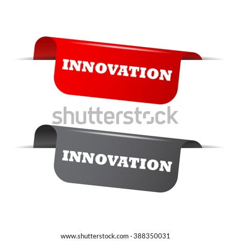 Red and gray vector illustration isolated sticker banner innovation two versions. This element is well adapted to web design. - stock vector