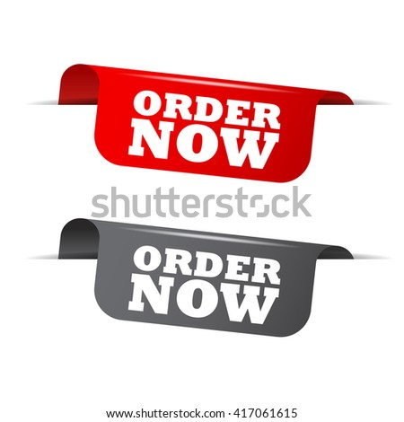 Red and gray vector illustration isolated sticker banner order now two versions. This element is well adapted to web design. - stock vector