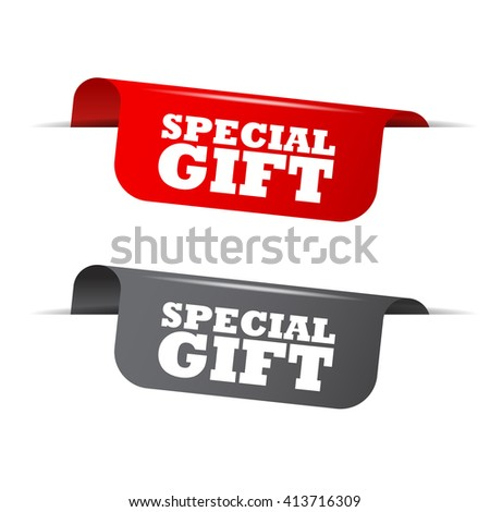 Red and gray vector illustration isolated sticker banner special gift two versions. This element is well adapted to web design. - stock vector