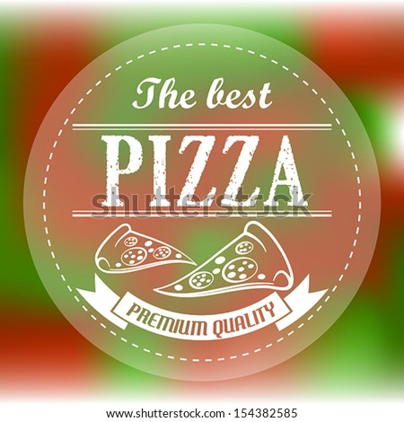 red and green abstract pizza label. pizza concept - stock vector
