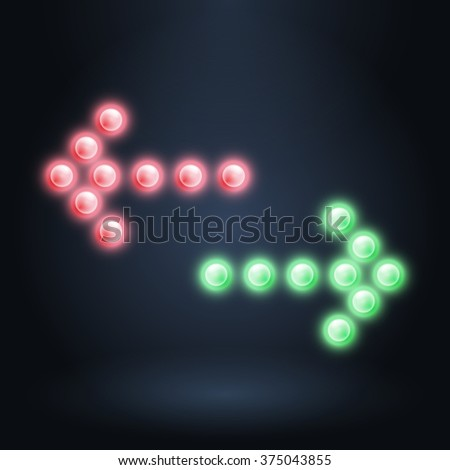 Red and green arrows on dark background, vector neon technology illustration