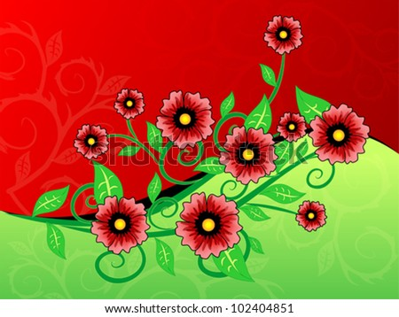 Red and green background with flowers - stock vector