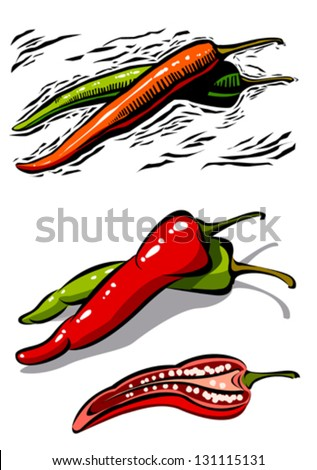 Red and green chili in woodcut style line art - stock vector