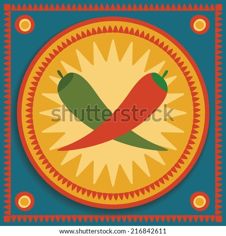 red and green chilies on tribal background - stock vector