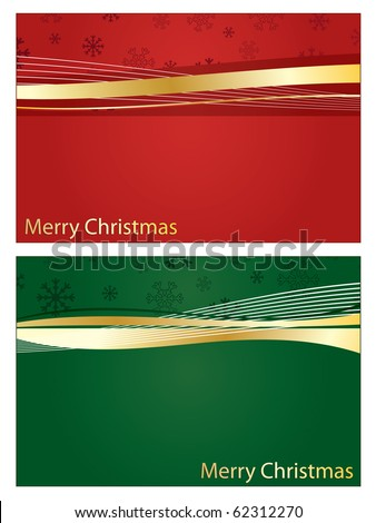 red and green christmas banners with gold ribbon and copy space - stock vector