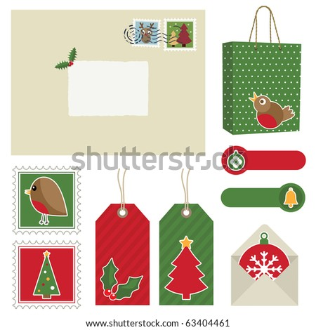 red and green christmas postage set with stamps, bag and tags - stock vector