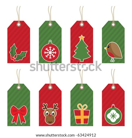 red and green christmas tags with motifs isolated on white - stock vector