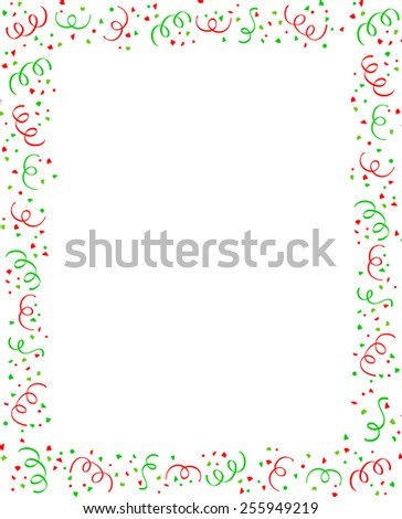 Red and green falling confetti christmas party frame with empty space in center - stock vector