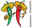 Red and green hot mexican chillies characters singing, playing guitar and maraques - stock vector