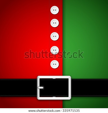 Red and green Santa Claus suit, black belt and white buttons, concept for greeting or postal card, vector illustration - stock vector
