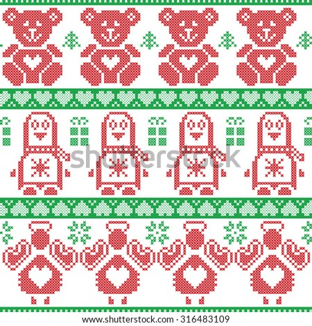 Red and green Scandinavian vintage Christmas  Nordic seamless pattern with penguin, angel, teddy bear, xmas gifts, hearts, decorative ornaments, christmas trees in cross stitch knitting   - stock vector