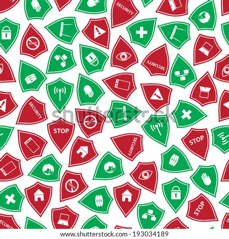 red and green security shields pattern eps10 - stock vector