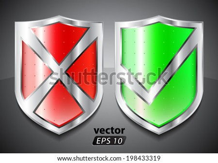 red and green security shields/ vector illustration eps10 - stock vector