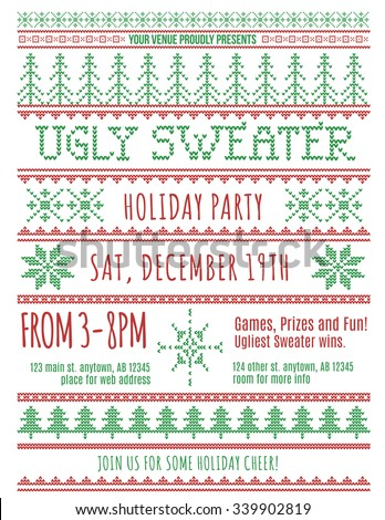 Red and Green Ugly Christmas Sweater Party invitation template - stock vector
