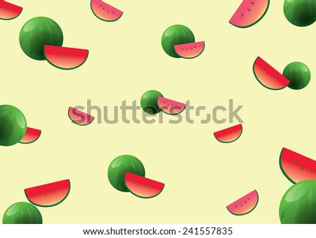 Red and green watermelon Vector. design for background or wallpaper - stock vector