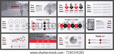 Red and grey business presentation slides templates from infographic elements. Can be used for presentation, flyer and leaflet, brochure, marketing, advertising, annual report, banner, booklet.