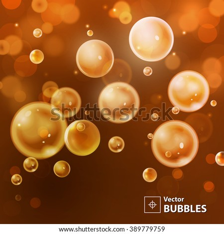 Red and orange blur background with bubbles. Holiday abstract background with bokeh. Vector illustration