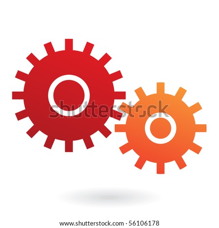 Red and orange cogs isolated on white - stock vector
