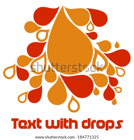 Red and orange drops - stock vector
