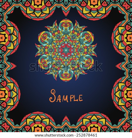 Red and orange frame  with mandala. Template for menu, greeting card, invitation or cover - stock vector