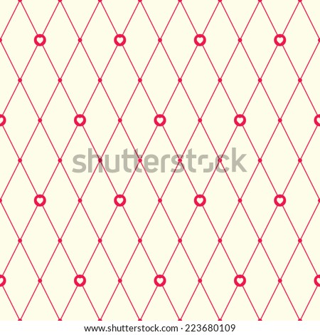 Red and pale beige seamless pattern with argyle design and hearts. Simple romantic background. - stock vector