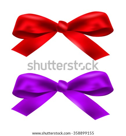 Red and purple satin ribbons on white background - stock vector