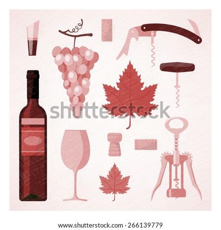 Red and rose wine vintage illustration with wine bottle, glass, vine, corks and corkscrew - stock vector