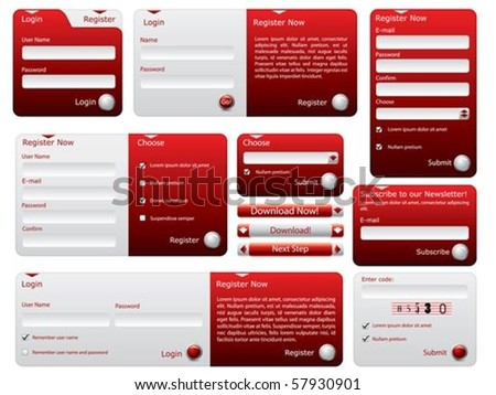 Red and silver web forms design - stock vector