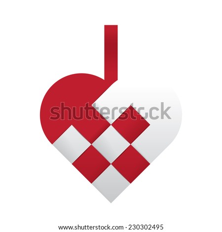 Red and white braided christmas heart shaped vector illustration. Beautiful handcrafted together from paper in traditional retro style. A xmas icon with a simple pattern isolated on white background. - stock vector