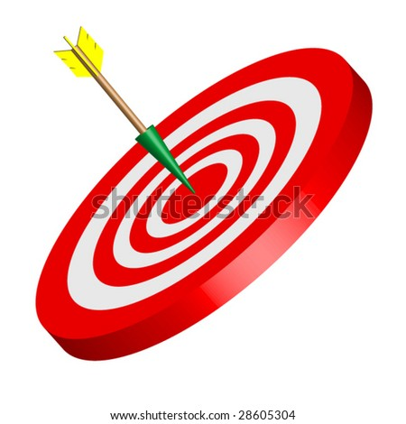 "Red and White ""bulls eye"" Vector with Arrow Isolated on White Background - stock vector"
