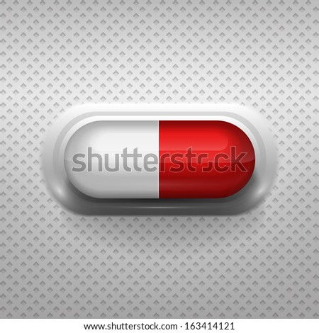 Red and white capsule pill with background - stock vector