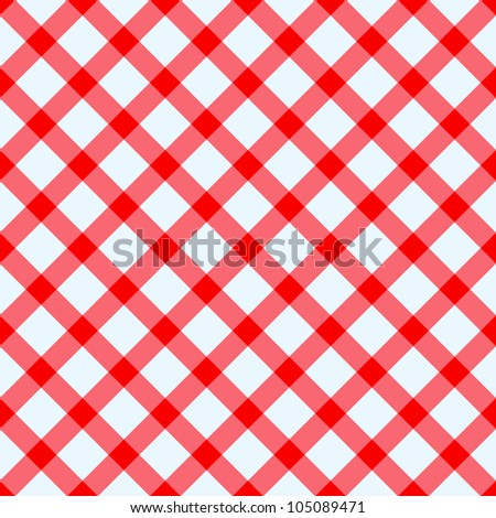 Red and white checked tablecloth - stock vector