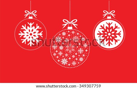 red and white christmas ball balls - stock vector