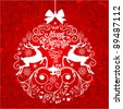 Red and White Christmas ball illustration. - stock vector