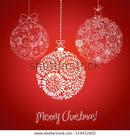 Red and white Christmas balls illustration. - stock vector