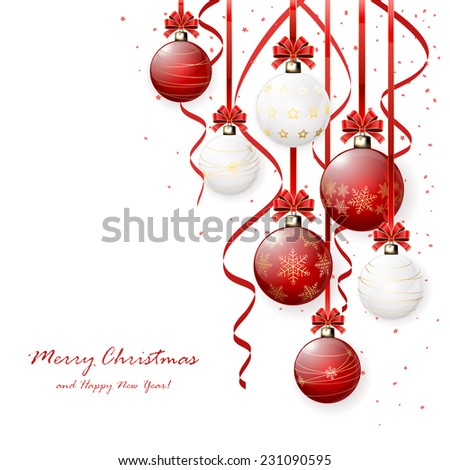Red and white Christmas balls with bow, tinsel and confetti, illustration. - stock vector
