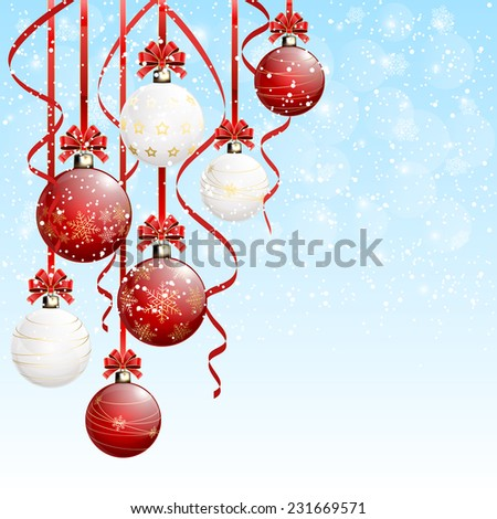 Red and white Christmas balls with tinsel on snowy background, illustration.