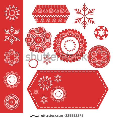 red and white Christmas snowflake and ornament design patterns, round stamps and seals and hexagonal shaped labels with stitching. Snowflake set has fine detail filigree or fancy line design elements - stock vector