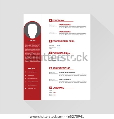 Red white editable cv format stock vector hd royalty free red and white editable cv format altavistaventures Image collections