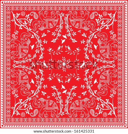 Red and white Elephant Asian square Scarf or Bandana - stock vector
