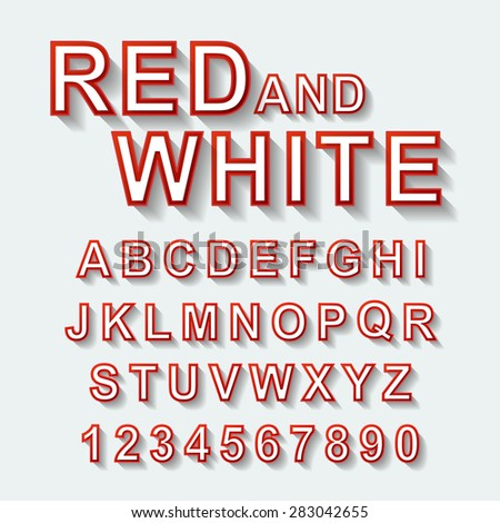 red and white font design set over white background  - stock vector